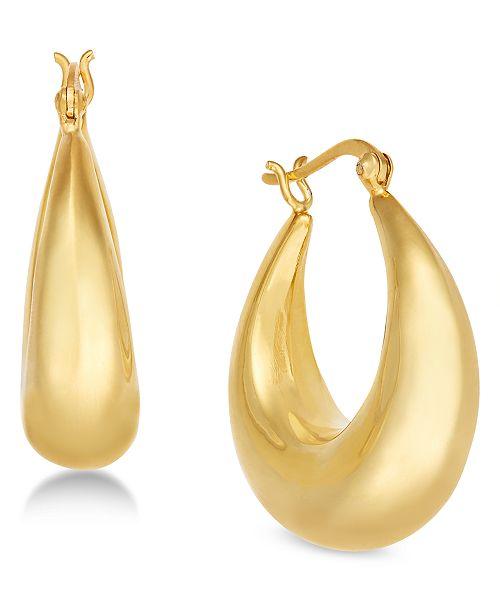 Essentials Medium Graduated Puff Medium Hoop Earrings