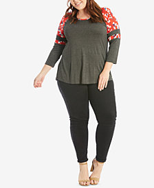 Eyeshadow Trendy Plus Size 3/4-Sleeve T-Shirt