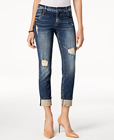 Kut from the Kloth Catherine Ripped Cuffed Boyfriend Jeans