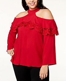 Love Scarlett Plus Size Cold-Shoulder Lace-Detail Top