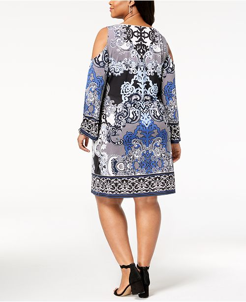 21e33bc421a INC International Concepts I.N.C. Plus Size Printed Cold-Shoulder Dress