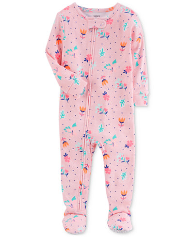 Carter's 1-Pc. Floral-Print Cotton Footed Pajamas, Baby Girls