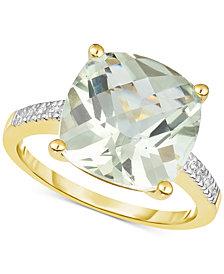 Green Quartz (5 ct. t.w.) & Diamond Accent Ring in 14k Gold