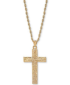"Textured Cross 20"" Pendant Necklace in 14k Gold"