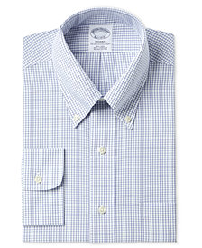 Brooks Brothers Men's Regent Classic/Regular Fit Non-Iron Polo Button Down Blue Windowpane Dress Shirt