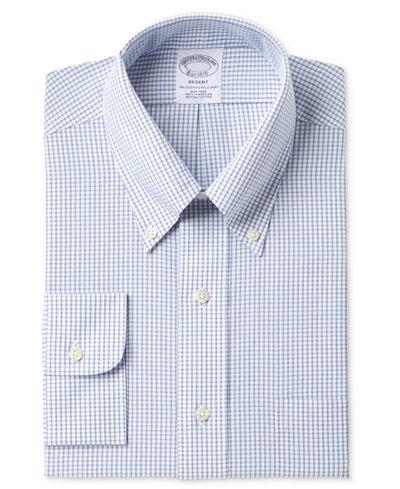 Brooks Brothers Men's Regent Classic/Regular Fit Non-Iron Polo Button Down Blue Windowpane Dress Shirt