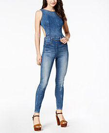 GUESS Lola Open-Back Denim Jumpsuit