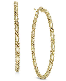 Essentials Medium Gold Plated Twisted Hoop Earrings