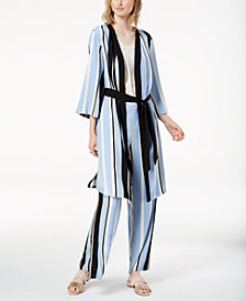 Bar III Striped Kimono Robe Jacket, Created for Macy's