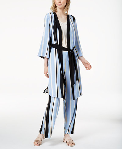 Bar III Striped Kimono Robe Jacket, Created for Macy's