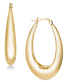 Essentials Gold Plated Medium Polished Graduated Puff Hoop Earrings