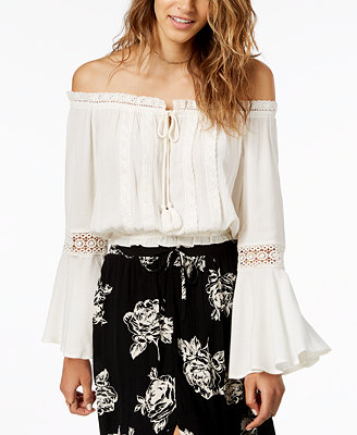 Juniors' Lace Trimmed Off The Shoulder Peasant Top, Created For Macy's by American Rag