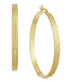 Essentials Gold Plated Textured Flat Hoop Earrings