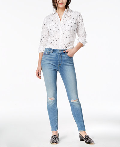 7 For All Mankind High Waist Skinny with Rips Jeans