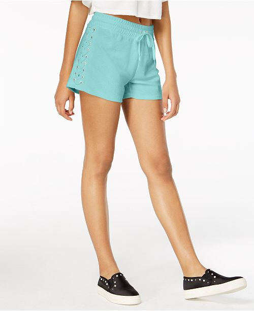 89b350b21318 Material Girl Juniors  Lace-Up Drawstring-Waist Shorts