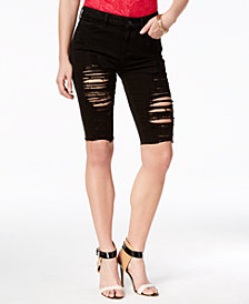GUESS Ripped Denim Bermuda Shorts