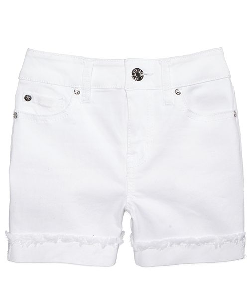 Frayed Flip Cuff Shorts, Big Girls