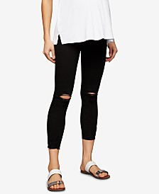 Articles of Society Maternity Distressed Black Wash Skinny Jeans
