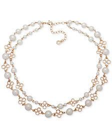 "Anne Klein Gold-Tone Imitation Pearl Double-Row Collar Necklace, 13"" + 3"" extender"