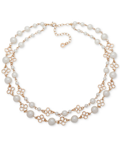 Anne Klein Gold-Tone Imitation Pearl Double-Row Collar Necklace, 13