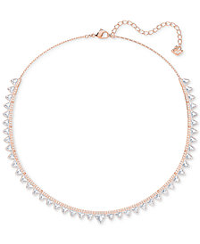 "Swarovski Rose Gold-Tone Crystal Triangle Choker Necklace, 14-3/4"" + 1-3/4"" extender"