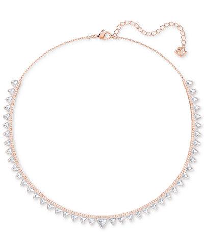 Swarovski Rose Gold-Tone Crystal Triangle Choker Necklace, 14-3/4