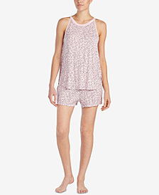 DKNY Printed Mesh-Panel Boxer Pajama Set
