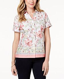Karen Scott Petite Cotton Border-Trim Button-Down Top, Created for Macy's