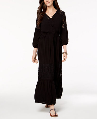 Style & Co Petite Lace-Trim Maxi Dress, Created for Macy's