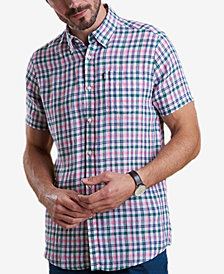 Barbour Men's Leon Tailored-Fit Green Check Linen Shirt
