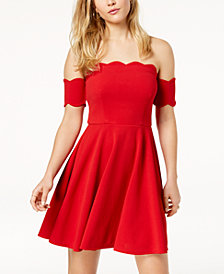 City Studios Juniors' Off-The-Shoulder Scalloped Dress