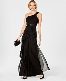 One-Shoulder Tiered Chiffon Gown