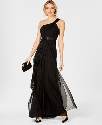 Adrianna Papell One Shoulder Tiered Chiffon Gown Dresses Women