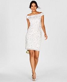 Off-The-Shoulder Beaded Sheath Dress