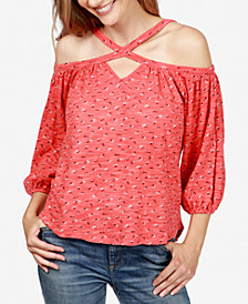 Lucky Brand Cotton Off-The-Shoulder Printed Top