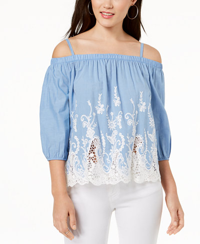 BCX Juniors' Embroidered Chambray Off-The-Shoulder Blouse