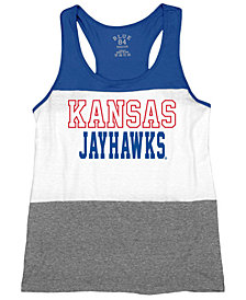 Blue 84 Women's Kansas Jayhawks Racerback Panel Tank Top