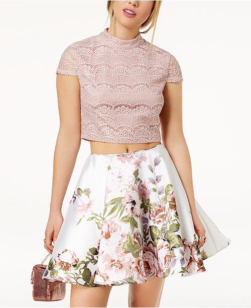 3098d17c1f ... City Studios Juniors  2-Pc. Lace   Floral-Print Dress