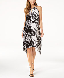 John Paul Richard Petite Twin-Print Keyhole Midi Dress