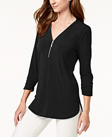 Zipper-Trim 3/4-Sleeve Top, Created for Macy's
