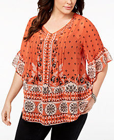 Style & Co Plus Size Sheer Medallion-Print Flutter-Sleeve Top, Created for Macy's