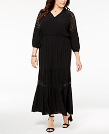 Style & Co Plus Size Lace Ruffled Maxi Dress, Created for Macy's