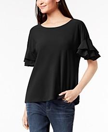 INC Ruffled-Sleeve Top, Created for Macy's