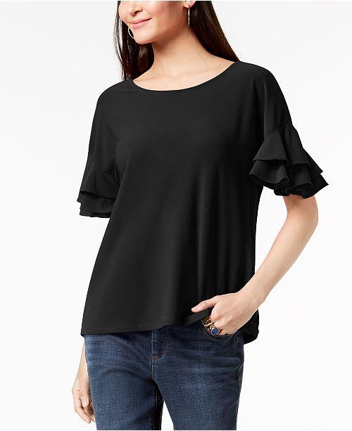 INC International Concepts INC Petite Ruffled-Sleeve Top, Created for Macy's