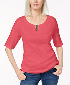 Karen Scott Cotton Metal-Ring T-Shirt, Created for Macy's