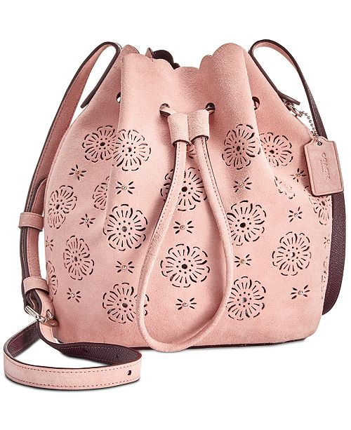 COACH Suede Mini Bucket Bag 16 with Cut Out Tea Rose   Reviews ...
