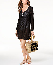 Dotti Lace-Up Hoodie Dress Cover-Up