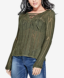 GUESS Sheer Metallic Lace-Up Sweater