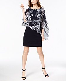 Connected Printed Cold-Shoulder Cape Dress