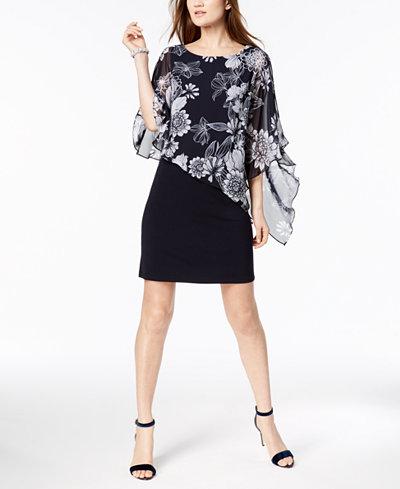 Connected Printed Cold-Shoulder Cape Dress, Regular & Petite Sizes